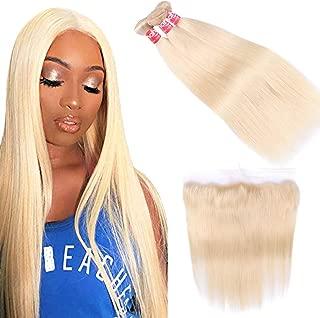 Haha 613 Blonde Bundles with Frontal Brazilian Straight Hair 3 Bundles with Frontal Closure Platinum Blonde Human Hair Bundles with 13x4 Lace Frontal (12 14 16+10 Inch, 613 Hair)