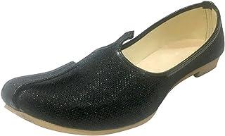 Step n Style Mens Black Glitter Sherwani Shoes Punjabi Jutiis Pakistani Khussa Mens Nagra Mojari