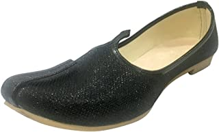 Mens Black Glitter Sherwani Shoes Punjabi Jutiis Pakistani Khussa Mens Nagra Mojari