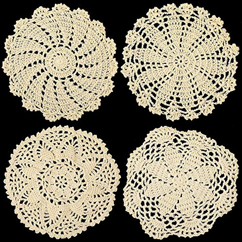 4 Pieces Cotton Lace Doilies Crochet Round Lace Placemat Handmade Lace Coasters Vintage Crochet Doilies for Kitchen Dining Room Party Wedding Tableware Dressers Dream Catcher Decoration 7 Inch (Beige)