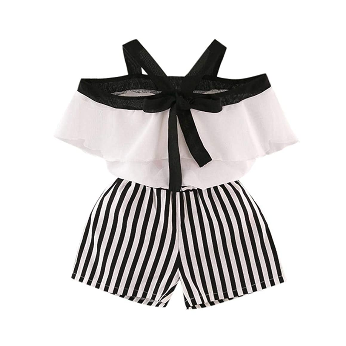 terbklf Toddler Kid Baby Girl Outfits Clothes Lotus Leaf Chiffon Shirt+Stripe Shorts Set Elegant Kindergarten Costume