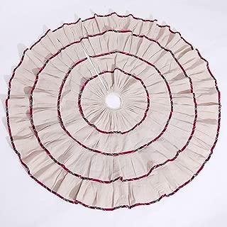 "Abobo 50""Christmas Tree Skirt - Cotton Overlapping Radial Pleated Design Thin Plaid Trim Beige (Heirloom Quality)"
