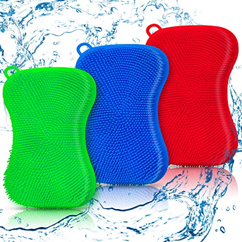 YUKOVTK Silicone Sponge Dish Sponges,Reusable Double-Sided Multipurpose Non Stick Silicone Kitchen Cleaning Sponges,Double Sided Kitchen Sponge for Dishes,Fruit,Vegetable, Makeup Set(3 Pack)