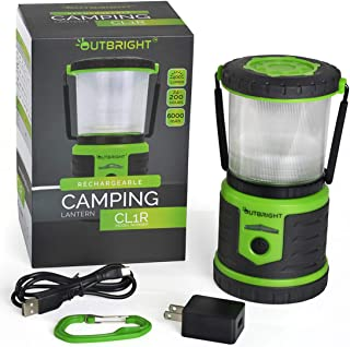 Outbright Rechargeable LED Camping Lantern - Built to Last a Lifetime in The Toughest Conditions - 100% Waterproof and Shockproof