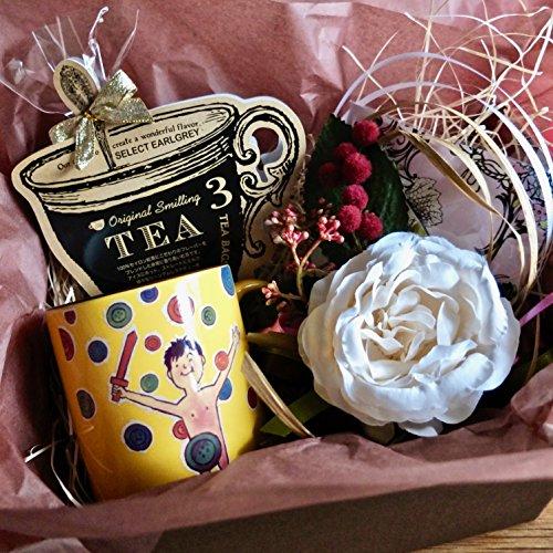 フラワー ギフト cafe,q カフェック、ストロベリーピンク チョコレート & 紅茶 & サヴィニャック マグカップ(わんぱく戦争)セットギフト (紅茶)母の日 花 スイーツ ギフト 花とグルメのセット