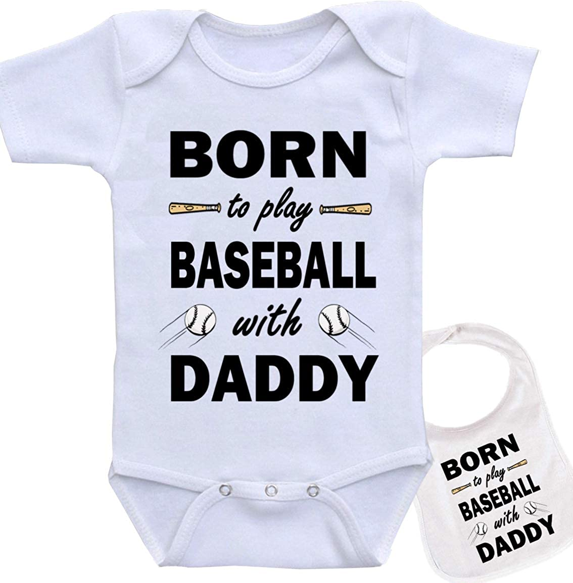 Matching Father Baby Gift Set Mens T Shirt /& Baby Bodysuit Born to Play Baseball with Daddy White Medium /& Newborn