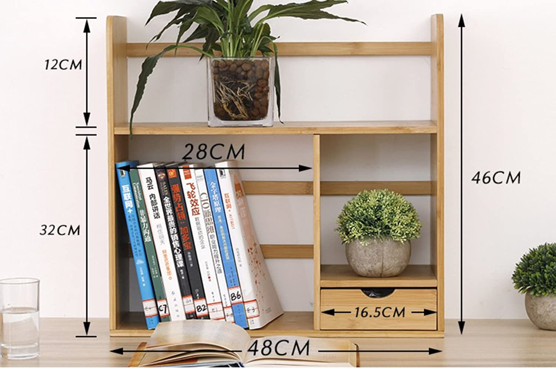 Desktop Bookshelf,Storage Rack Simple Table Creative Students Multi-Functional Bamboo Bookcase-A 48x19x46cm(19x7x18)