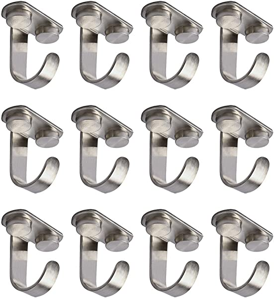 Alise X2208 12P Stainless Steel Ceiling Hook Towel Robe Clothes Hook For Closet Top Bathroom Kitchen Cabinet Garage Utility Heavy Duty Screw Mounted Brushed 12 Pack