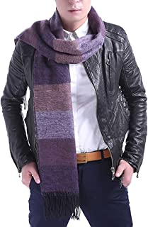 Aisa Fashion Scarf Neck Warmer Soft Cashmere Thicken Stripes Long Scarves with Tassels for Men