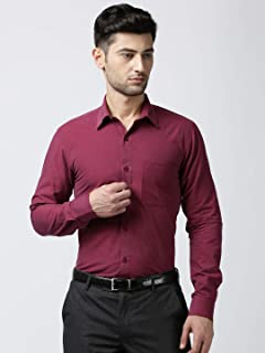 Jansons Men Formal Red Solid Shirt