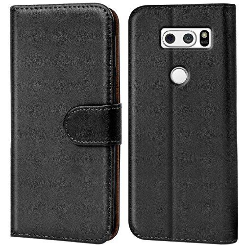 Verco V30 Hülle, Handyhülle für LG V30 Tasche PU Leder Flip Hülle Brieftasche - Schwarz