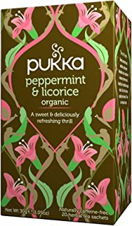 Pukka Organic Peppermint & Licorice Tea, 20 Herbal Tea Sachets, 30g