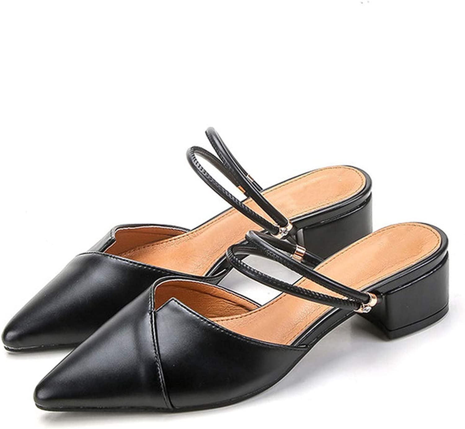 LAIGEDANZI Women Mules Slipper Pointed Toe Block Strap Closed Shallow High Heels shoes