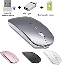 Rechargeable Wireless Mouse for Laptop Wireless Mouse for MacBook Pro MacBook Air Chomrebook Desktop Computer (Gray)