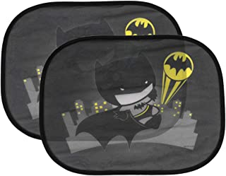 UV Protect Warner Brothers Superhero Chibi Side Sun Shade – Universal Fit for Car Auto (Sedan Truck SUV Minivan) – 2PC Batman
