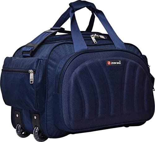 Waterproof Polyester Lightweight Blue 40 L Travel Duffel Bag with 2 Wheels