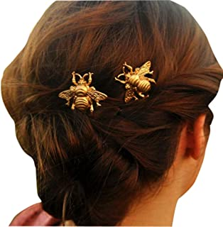 2PCS Girl Exquisite Gold Bee Hairpin Side Clip Hair Accessories Bridal Hair Accessories