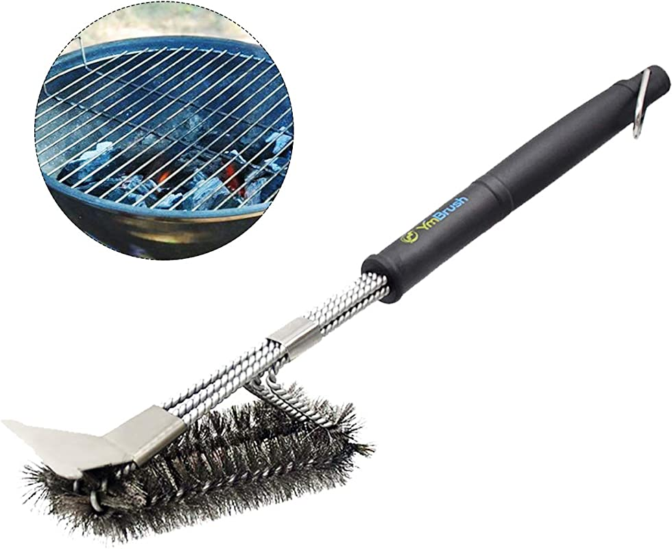 DYZQ Grill Brush With Scraper 18 BBQ Grill Brush Stainless Steel Clean Grill Brush Stainless Steel Wire Bristles And Stiff Handle Safe For