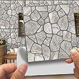Hiser 20 Piezas Adhesivos Decorativos para Azulejos Pegatinas para Baldosas del Baño/Cocina Imitación de Cuero Estilo de Piedra 3D Resistente al Agua Pegatina de Pared (Piedra Gris,15cm)