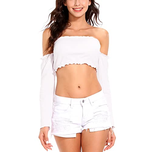 693d34e2e19 ISASSY Women's Off Shoulder Long Sleeve Tank Ruffle Frill Bardot Crop Cut  Out Tops Shirt Blouse