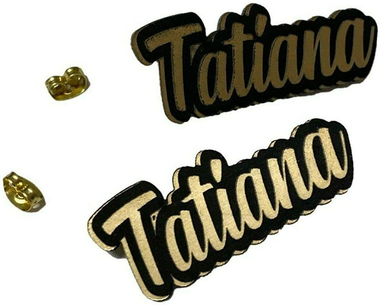 Personalized Custom Black and Gold Posts Studs Earrings Name Plate Laser Cut Design Stunning - Quality, Attractive Fashion Earrings, Made To Order, Any Name or Word - 1 INCH Size, Post Earrings Design