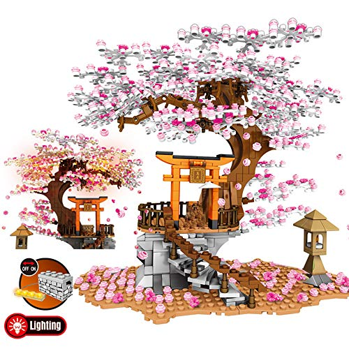 RuiDaXiang Friends-Casa del árbol,Conjunto de Bloques de construcción creativos de City Street View Sakura, Architecture Inari Shrine Building Bricks Toy(1103 Piezas)