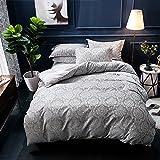 Merryfeel Duvet Cover Set, Classic Damask Jacquard Duvet Cover Set -King Grey Bedding Set