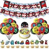 Among Us Dcoration - YUESEN 42 Piezas Among Us Globos de Fiesta Látex Balloons Happy Birthday Banner Cake Topper Suministros de Fiesta Cumpleaños de Among Us para Niños
