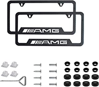 2pcs AMG Logo Stainless Steel Carbon Fiber Grain License Plate Frame,with Screw Caps Cover Set Suit,Applicable to US Standard car License Frame,for Mercedes Benz. (AMG)