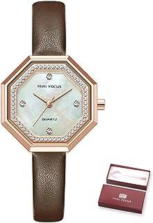 MINI FOCUS Women Quartz Watch Octagon Case Women's Fashion Watches with Crystal Diamonds Leather Strap 3ATM Waterproof Fem...