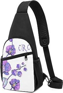 PGTry - Mochila bandolera con diseño de orquídea rosa aislada en color blanco, ligera para el hombro, mochila para el pech...