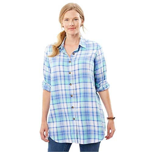 Woman Within Plus Size Classic Flannel Shirt - Aqua Jade Plaid, 1X