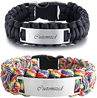 NJ Customized Paracord Bracelet - Men's Stainless Steel Handmade Rope Personalized Name Survival Bracelets Cuff Braceles Bangle for Boyfriend,Husband,Dad,Nephew for Outdoor Vacation Hiking