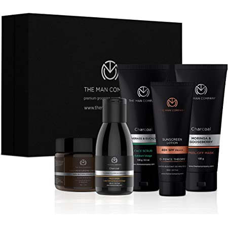 The Man Company Total De-Tan Regime | Charcoal Face Wash, Face Scrub, Peel Off Mask, Daily Moisturising Cream, Sunscreen Lotion SPF 40+ | Cleansing, Nourish, Sun Protection