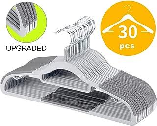 FSUTEG Plastic Hangers,Clothes Hangers, 30PACK 16.5 in, Upgraded Rubber Stripe Non-Slip Coat Hangers,Space Saving,Heavy Duty Hangers Plastic Gray