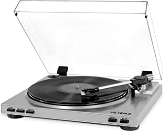 Victrola VPRO-3100-SLV Professional Series USB Turntable FullyAutomactic 2 Speed Belt Drive (Silver)