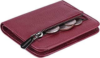 Women's Rfid Blocking Small Compact Bifold Leather Pocket Wallet Ladies Mini Purse with id Window (Natural Wine Red)