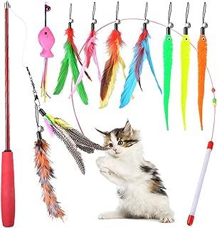猫じゃらし 猫 おもちゃ Ninonly ネコ じゃらし じゃれ猫 猫のおもちゃ 羽のおもちゃ 猫遊び おもちゃ 猫用品 ペット用品 鈴付き 羽根 (9羽)伸縮可能 釣り竿(1本)さかな(1本) 11点セット
