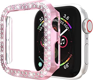 ISENXI Case Compatible with Apple Watch Series 5 40mm,PC Plated Hard Bumper Bling Crystal Diamonds Glitter Frame Protective Cover Compatible for iWatch Series 5 Series 4 (Rose Pink, Series 5/4 40mm)