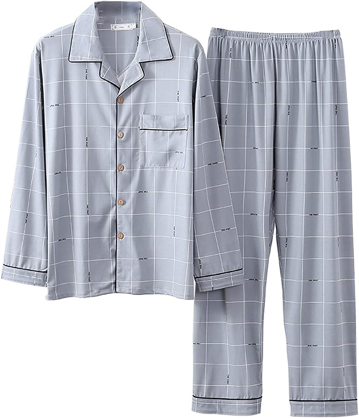 Men's Long Sleeve Broadcloth Sleep Set 2 Pieces Lightweight Casual Pajama Set