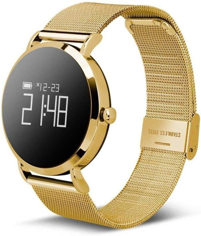 Smart Watch Fitness Tracker blueeetooth Waterproof Sports Bracelet Heart Rate Sphygmomanometer wjSnc (Size   gold Steel Belt)