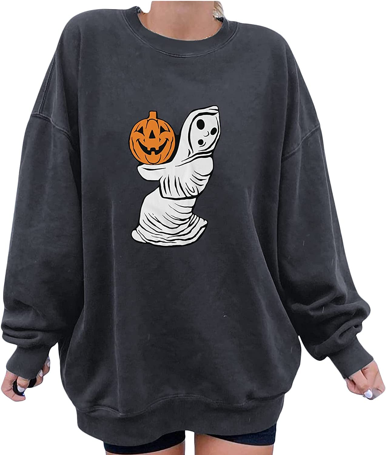 Sweatshirts for Women Halloween Graphic Pumpkin Printed Pullover Long Sleeve Round Neck Casual Loose Tops Jumper Blouse Shirt