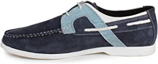SHUMAEL Men's Blue Suede Leather Casual Boat Shoes