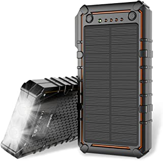 Soluser Solar Charger 15000mAh Solar Power Bank Battery Pack Outdoor Portable Solar External Battery Charger with 2 Led Flashlight for Hiking, Camping, Traveling