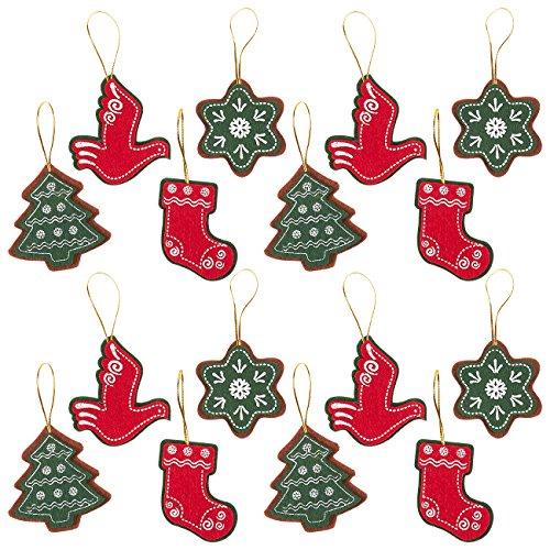 Felt Christmas Ornament, Holiday Ornaments Set (4 Designs, 16 Pack)