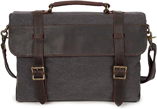 Briefcase Home Herren Umh etasche Vintage Canvas Tasche Leder Schulter Handtasche Aktentasche Herrenrucksack
