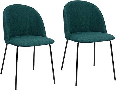 FurnitureR Juego de 2 sillas de comedor, sillas de cocina con respaldo acolchado de tela, sala de estar moderna de mediados de siglo Sillas de ocio con patas de metal resistentes para cocina comedor Verde