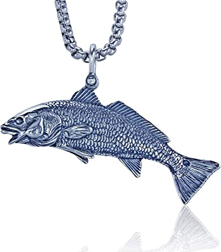 KeyLimeBay Redfish Puppy Drum Pendant Crafted in Sterling Silver on a 22′ Sturdy Box Necklace Chain