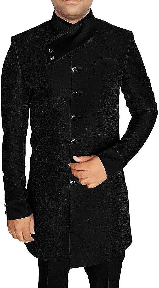 INMONARCH Mens Black Sherwani Kurta for Jeans Indowestern Angrakha Look IN566