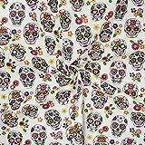 Tela cretona 100% algodón estampada calavera [Certificado Oeko Tex] de muy buena calidad. Se vende por retales – Peso 140 gr/m2 (1 m x 1 m, 60 coco skull).